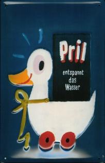 Blechschild Pril Ente entspannt das Wasser SpülmittelSchild retro Werbeschild...