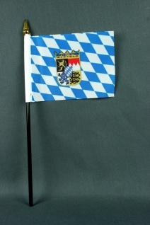 Kleine Tischflagge Bayern mit Raute und Wappen 10x15 cm optional mit Tischfäh...