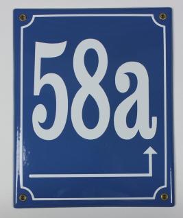 58a Pfeil rechts hoch mittelblau 25x20 cm sofort lieferbar Schild Emaille Hau...