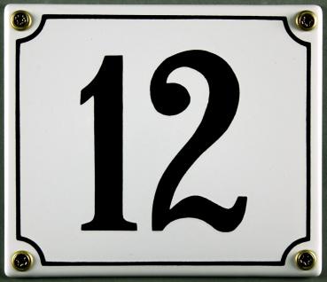 Hausnummernschild 12 weiß 12x14 cm sofort lieferbar Schild Emaille Hausnummer...