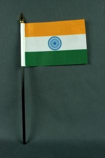 Kleine Tischflagge Indien 10x15 cm optional mit Tischfähnchenständer