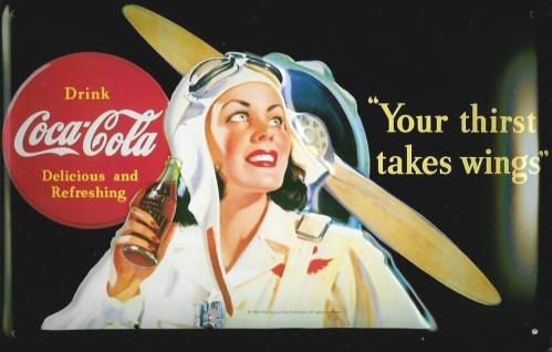 Blechschild Coca Cola Your thirst takes wings Flugzeug Propeller retro Schild...