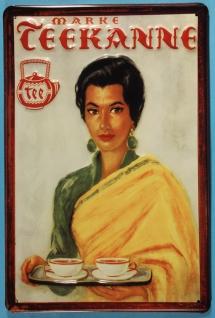 Blechschild Teekanne Tee Frau mit Tablett Teetasse Retro Schild Werbeschild