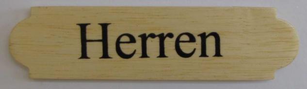 Eckiges Holz - Türschild Herren 3x12 cm helles Holzschild