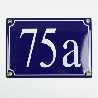 75a blau Serif 17x12 cm sofort lieferbar 3-stellig Schild Emaille Hausnummer