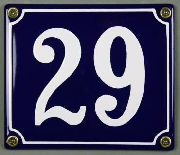 Hausnummernschild Emaille 29 blau - weiß 12x14 cm sofort lieferbar Schild Ema...