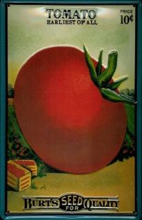 Blechschild Tomato Seeds Tomate Tomaten Saatgut Schild Werbeschild