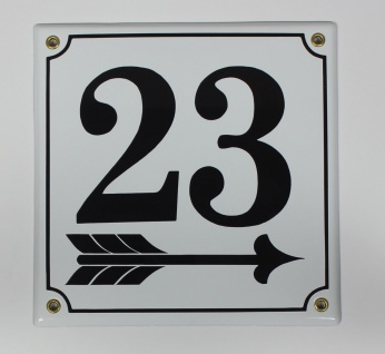23 Pfeil rechts 20x20 cm sofort lieferbar Schild Emaille Hausnummer