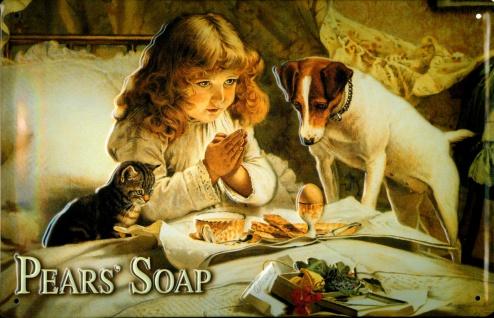 Blechschild Pears Soap Seife Kind Hund Katze Schild Nostalgieschild