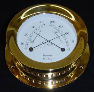 Schiffs Thermometer / Hygrometer 118 mm Messing schwer - Vorschau