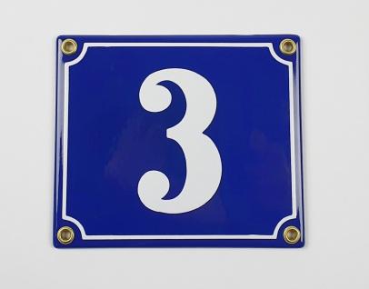 3 dunkelblau / weiß Clarendon 14x12 cm sofort lieferbar Schild Emaille Hausnu...