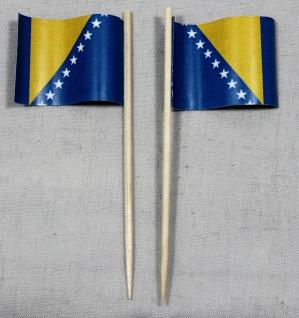 Party-Picker Flagge Bosnien Herzegowina Papierfähnchen in Spitzenqualität 50 ...
