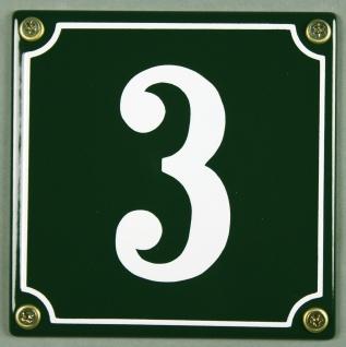 Hausnummernschild 3 grün 12x12 cm sofort lieferbar Schild Emaille Hausnummer ...