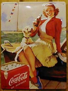 Blechschild Coca Cola Coke Boot Frau mit Hund retro Schild Nostalgieschild