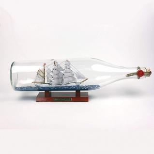 Gorch Fock 3 Liter runde Asbach - Flasche Buddelschiff Flaschenschiff
