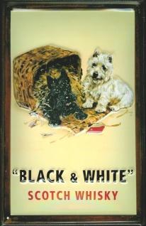 Blechschild Black & White Scotch Whisky Korb Hund Katze Schild Nostalgie Werb...