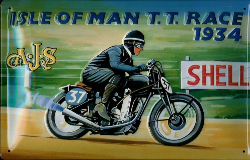 Blechschild Isle of Man Motorcycle Motorrad Rennen 1934 Shell Nostalgieschild...