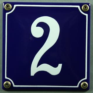 Hausnummernschild 2 blau - weiß 12x12 cm sofort lieferbar Schild Emaille Haus...