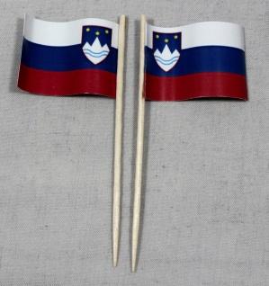 Party-Picker Flagge Slowenien Papierfähnchen in Spitzenqualität 50 Stück Beutel