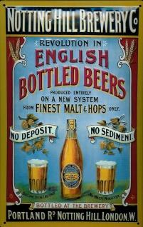 Blechschild Notting Hill Brewery London Bier Brauerei retro Schild Nostalgies...
