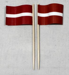 Party-Picker Flagge Lettland Papierfähnchen in Spitzenqualität 50 Stück Beutel