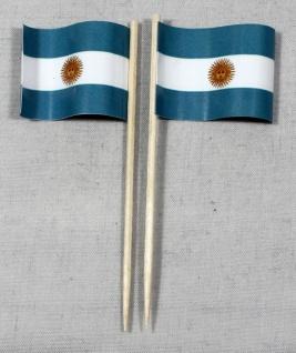 Party-Picker Flagge Argentinien Papierfähnchen in Spitzenqualität 50 Stück Be...
