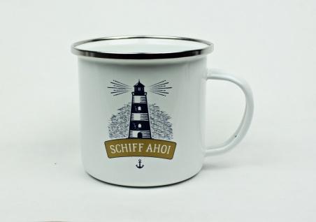 Maritimer Emaille Becher Schiff Ahoi Tasse Kaffee Becher Anker Emaillebecher ...