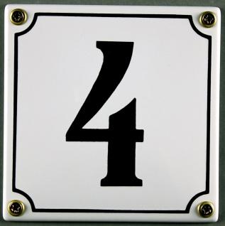 Hausnummernschild 4 weiß 12x12 cm sofort lieferbar Schild Emaille Hausnummer ...