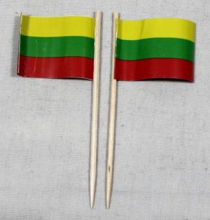 Party-Picker Flagge Litauen Papierfähnchen in Spitzenqualität 50 Stück Beutel