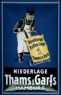 Blechschild Thams und Garfs Hamburg Kaffee Lager Schild Retro Werbung