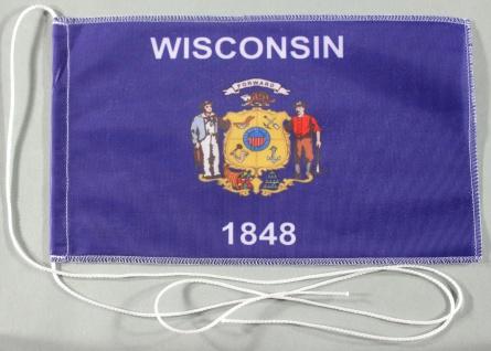 Tischflagge Wisconsin USA Bundesstaat US State optional mit Holz- oder Chroms...