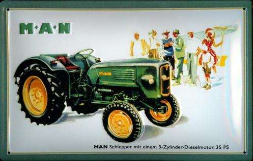 Blechschild MAN Traktor 35 PS Trecker Schlepper Schild Nostalgie Werbeschild - Vorschau