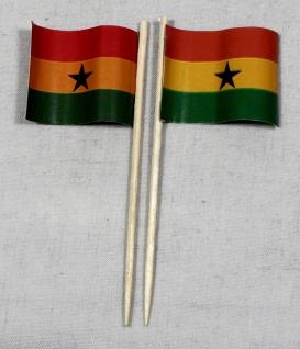 Party-Picker Flagge Ghana Papierfähnchen in Spitzenqualität 50 Stück Beutel