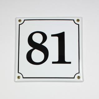 81 weiss 20x20 cm sofort lieferbar Schild Emaille Hausnummer