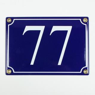 77 blau Serif 17x12 cm sofort lieferbar 3-stellig Schild Emaille Hausnummer