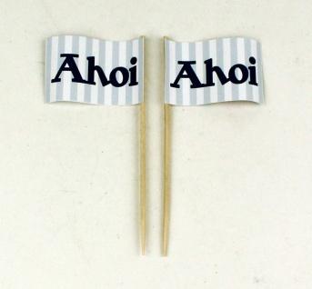Party-Picker Flagge Ahoi blau weiß Papierfähnchen in Spitzenqualität 50 Stück...