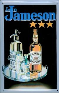 Blechschild John Jameson Whiskey Flasche Glas Tablett (1) Schild retro Kneipe... - Vorschau