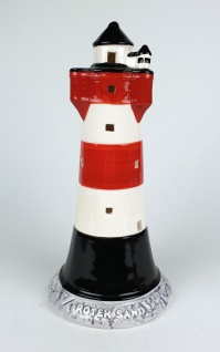 Roter Sand Leuchtturm Modell 20, 5cm mit Teelichthalter Keramik Leuchtturmmodell