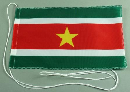 Tischflagge Surinam 25x15 cm optional mit Holz- oder Chromständer Tischfahne ...