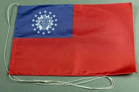 Tischflagge Myanmar Burma 25x15 cm optional mit Holz- oder Chromständer Tisch...