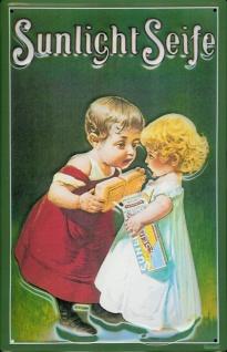 Blechschild Sunlicht Seife grün Junge Mädchen Kinder Schild retro Werbeschild...