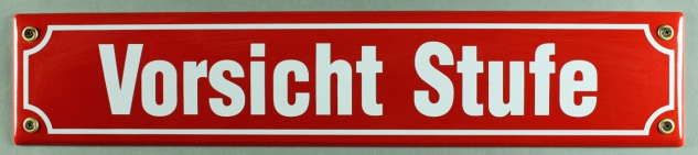 Strassenschild Vorsicht Stufe 40x8 cm rot Emaille Schild Emaile Hinweisschild...