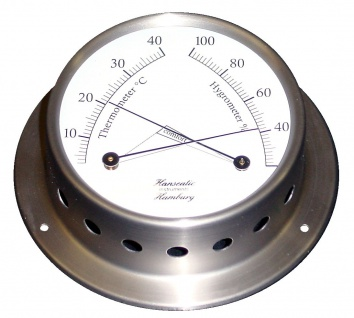 Schiffs Thermometer / Hygrometer Kombination 110 mm Edelstahl matt geschliffen