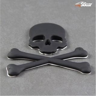 """Qualitäts 3D Autoaufkleber SCHWARZ """" Totenkopf"""" Metall Emblem Matt Black Stick... - Vorschau 4"""