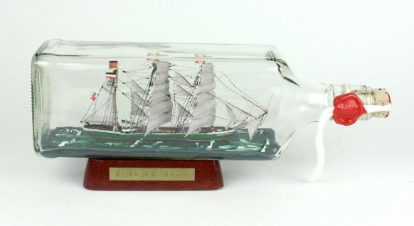 Rickmer Rickmers eckige Ginflasche 0, 7 Liter Buddelschiff Museumsqualität