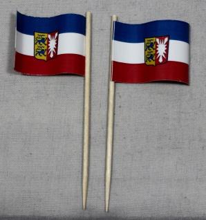 Party-Picker Flagge Schleswig Holstein Papierfähnchen in Spitzenqualität 50 S...