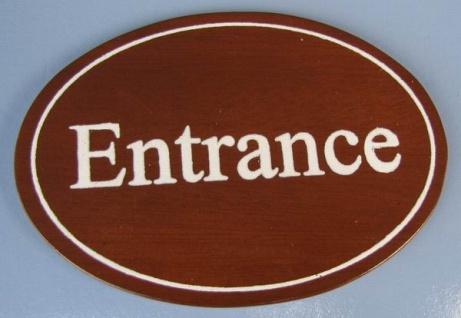 Ovales Holz - Türschild Entrance 7x10 cm dunkles Holzschild