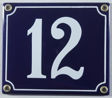 Hausnummernschild Emaille 12 blau - weiß 12x14 cm sofort lieferbar Schild Ema...