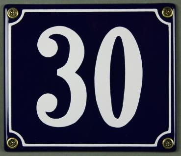 Hausnummernschild Emaille 30 blau - weiß 12x14 cm sofort lieferbar Schild Ema...