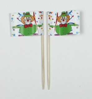 Party-Picker Flagge Clown 2 Karneval Fastnacht Fasching Papierfähnchen in Spi...